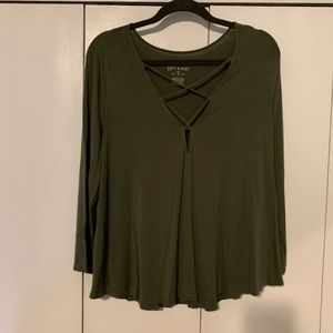 Green flowy blouse with lace up detail